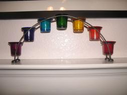 Arch Shape Metal Votive Holder with 7 Chakra Colored Glass C