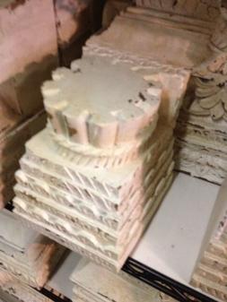 Pottery Barn Architectural Pillar Candleholder Chippy White