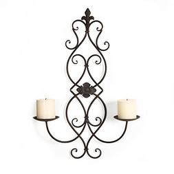 Asense Iron and Glass Vertical Wall Hanging Candle Holder Sc
