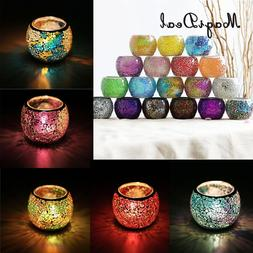 MagiDeal Assorted Moroccan Mosaic Glass Votive <font><b>Cand