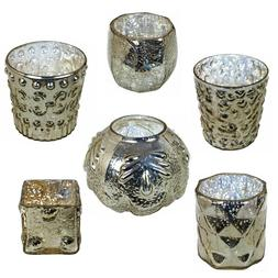 GlideRite Assorted Vintage Mercury Glass Votive Candle Holde