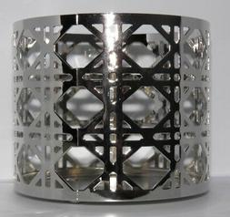 Bath & Body Works 3 Wick Candle Holder Sleeve LATTICE Silver