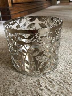 Bath & Body Works 3 Wick Candle Holder Sleeve LEAF Silver Sl