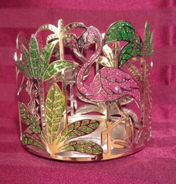 Bath & Body Works 3 wick Candle Holder~ PINK FLAMINGO/GREEN