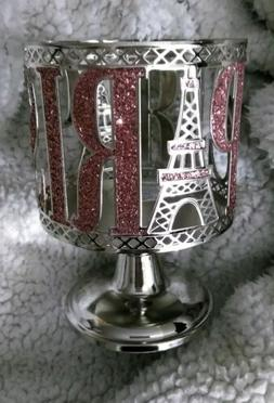 BATH & BODY WORKS 3 WICK CANDLE HOLDER SILVER GLITTER PINK P