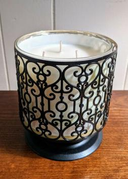 Bath & Body Works BLACK ORNATE HEART 3 WICK PEDESTAL CANDLE