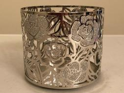 Bath & Body Works Candle Holder Silver Rose 3 Wick NEW