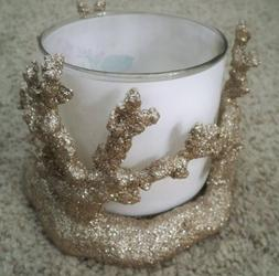 BATH AND BODY WORKS CORAL CANDLE HOLDER GOLD GLITTER NWT