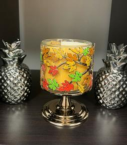 BATH & BODY WORKS FALL LEAVES PEDESTAL LARGE 3 WICK CANDLE H