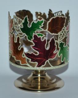 BATH & BODY WORKS FALL LEAVES PEDESTAL 3 WICK CANDLE HOLDER