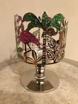 BATH & BODY WORKS FLAMINGO PALM TREES 3-WICK CANDLE HOLDER P