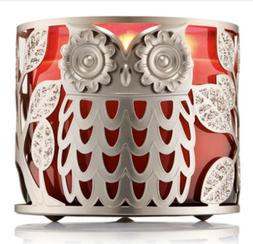 Bath & Body Works GLITTER OWL 3 Wick CANDLE Holder SLEEVE Lu
