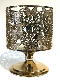 BATH & BODY WORKS GOLD BUTTERFLIES PEDESTAL LARGE CANDLE HOL