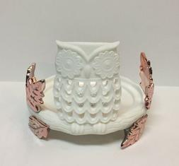 Bath & Body Works Resin Owl and Rose Gold Leaves 3-Wick Cand