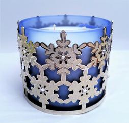 BATH & BODY WORKS SNOWFLAKE WITH GEMS 3 WICK CANDLE HOLDER ~