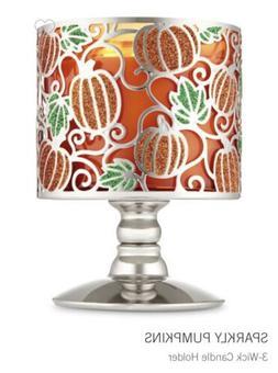 BATH & BODY WORKS Sparkly Pumpkins Candle Holder Pedestal 3