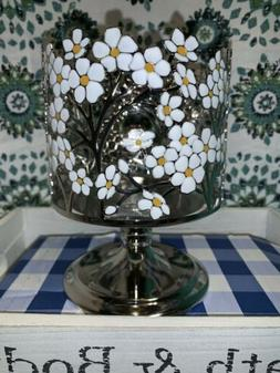 Bath and Body Works White Flower Pedestal Candle Holder For
