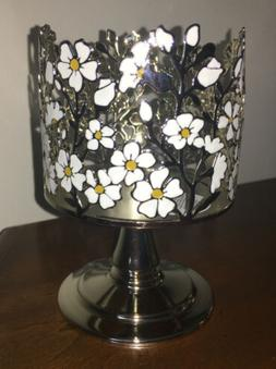 Bath & Body Works Wildflower Flowers Silver Pedestal 3-Wick