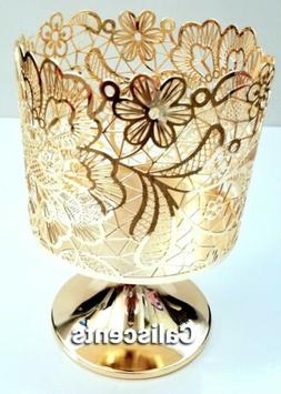BATH BODY WORKS LACE FLORAL GOLD THREE WICK CANDLE HOLDER  N