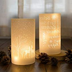 Battery Operated LED Candles with Lights Glass Hurricane Can