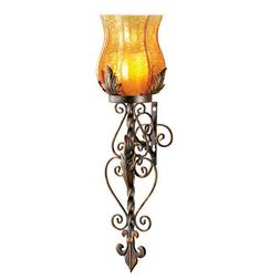 Battery Powered Antique Glass and Iron Casted Wall Sconce Ca