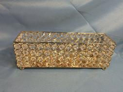 Beaded Crystal Metal Rectangle Candle Holder Light Decors Ho