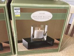 Bed Bath & Beyond Horizon Pillar Candle Holder W/ Wood Stand