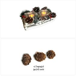 BANBERRY DESIGNS Berry and Pine Cone Candle Holder – White