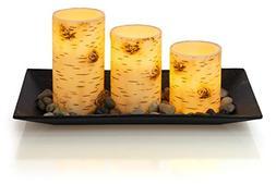 Dawhud Direct Birch Bark Candlescape Set, 3 LED Flickering F