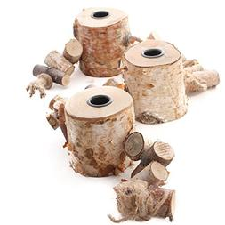 Natural Birch Triple Taper Candle Holder Display for Home De