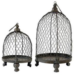 A&B Home Bird Cage Style Metal Candleholder, Set of 2