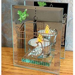BANBERRY DESIGNS Bird Candle Holder - Bird and Birdcage Etch