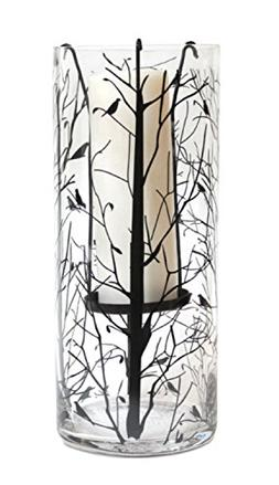 """Melrose 14"""" Bird and Tree Decal Suspended Glass Pillar Candl"""
