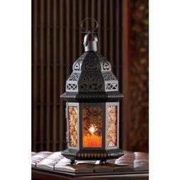 black amber orange Moroccan Candle holder lantern light Hall