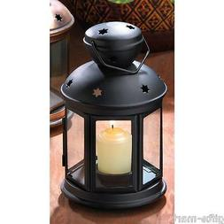 "BLACK Candle holder 9"" Lantern light outdoor terrace wedding"
