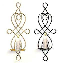 Black Decorative Swirling Iron Hanging Wall Candle Holder Sc