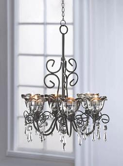 BLACK HANGING baroque crystals iron scrollwork shabby Candle