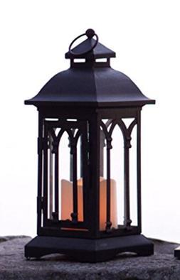 """12.25"""" Black Iron Gothic-Style Lantern with LED Flameless Pi"""