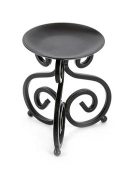 Black iron scroll pillar candle holder 5 Inch
