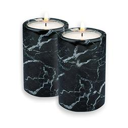 Fossil Gift Shop Set of 2 Black Marble Cylinder Tea Light Ca