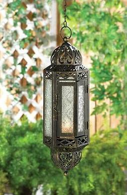 "black Marrakesh Moroccan hanging Candle holder 13"" Lantern c"