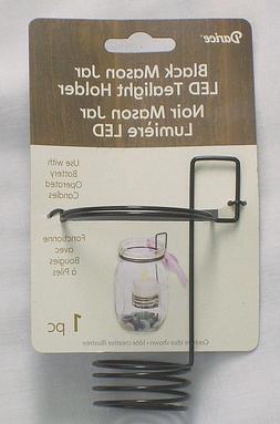 DARICE BLACK MASON JAR LED TEALIGHT CANDLE HOLDER - NEW