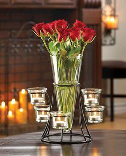 Black Metal Frame Tapered Glass Flower Vase Candle Holder Se