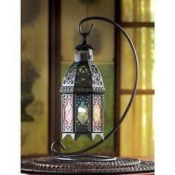 black Rainbow Multicolor Moroccan Candle holder hanging Lant