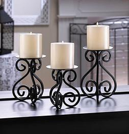 Black Scrollwork Pillar Candle Stands Set Of 3 Iron Pedestal