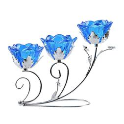 Blue Crystal Tea Light Candle Holder Wedding Table Centerpie