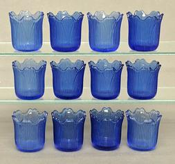 Blue Glass Votive Candle Holder Tea Light Tulip Shape 2.25""