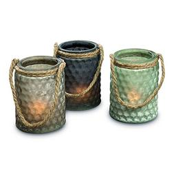 The Boat Yard Rope Hurricane Lamps, Set of 3, Shabby Weather