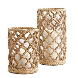 Two's Company Braids Set of 2 Rope Candle Holders with Glass