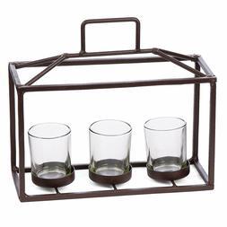 Skalny Brown Rectangle Metal & Glass 3 Tea Light Candle Hold